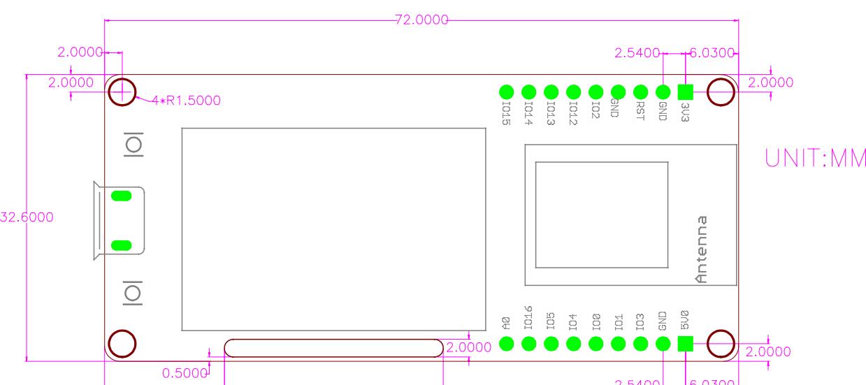 images/MakePython-ESP8266-Physical-Dimensions