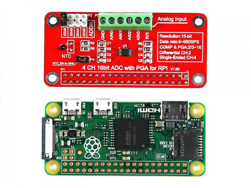 4 Channel A/D Module for Raspberry Pi 3